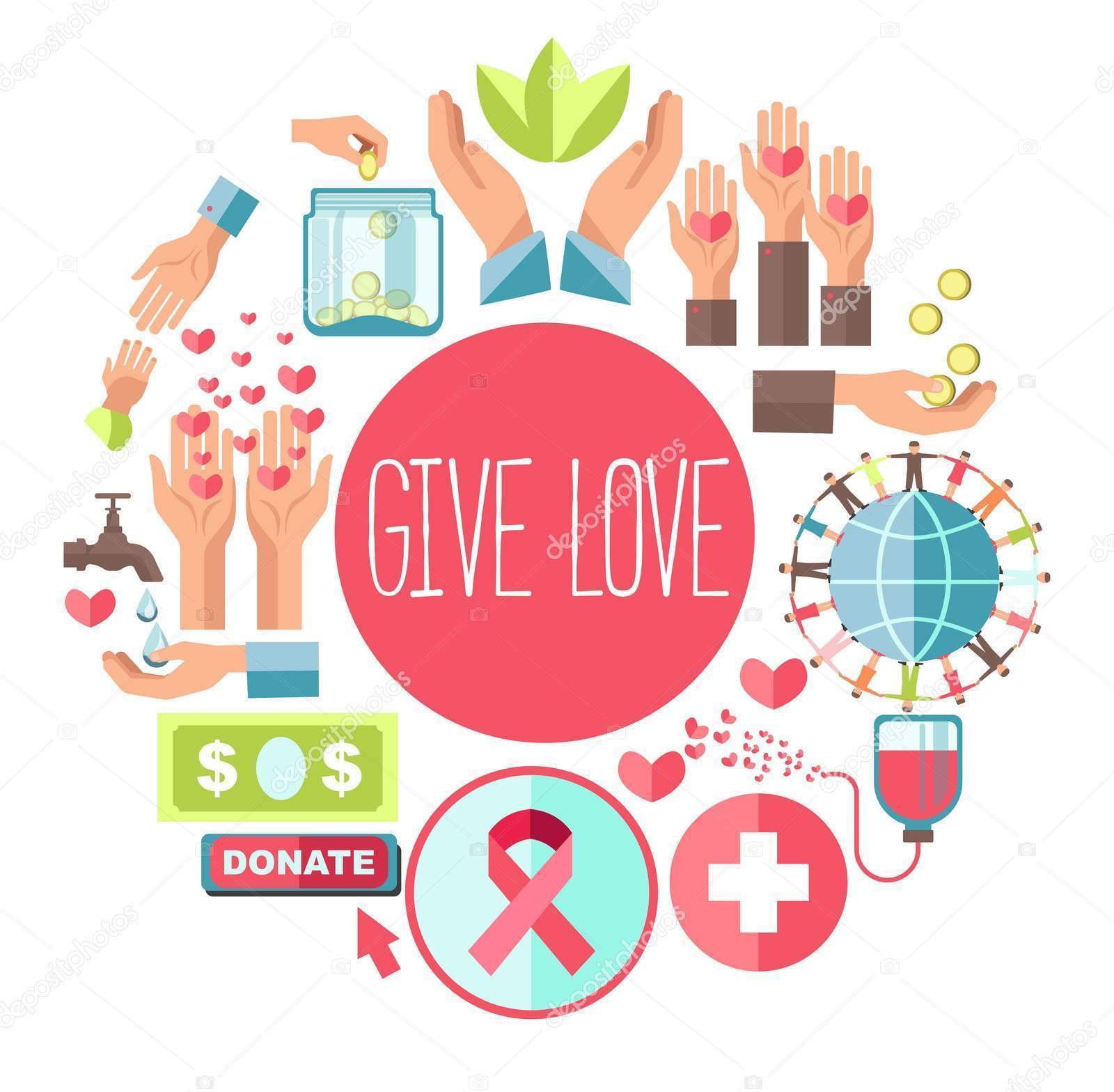 Give love poster fro social charity and donation action of icons for blood donation or money foundation. Vector flat design for charity help and social healthcare volunteering concept